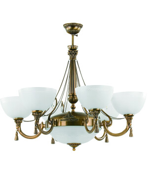 roma patina brass sculpture luxury chandelier 6 arms with swarovski crystals white glass shade
