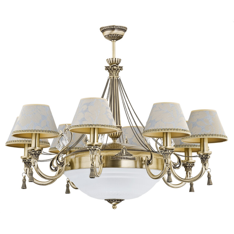 roma patina brass sculpture large luxury chandelier 8 arms palace lights fabric shade swarovski crystals