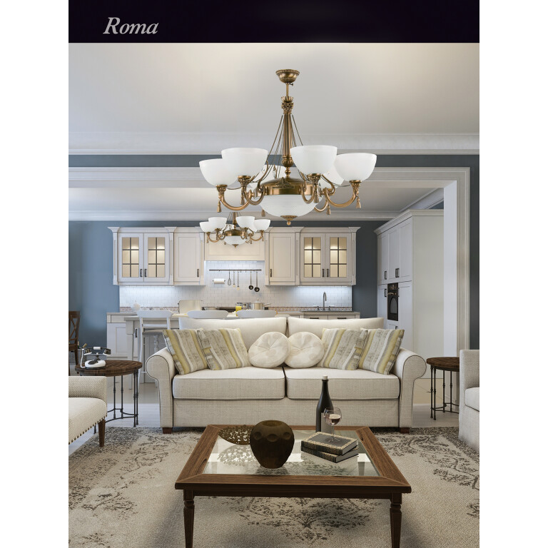 roma patina brass sculpture luxury chandelier 6 arms with swarovski crystals white glass shade inspiration