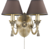 roma antique double wall light fabric shade with swarovski crystals brass wall sconce fitting