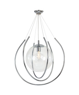 Single Ceiling Pendant Light FRO Globe Glass Shade Chrome Edison Bulb