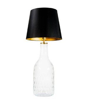 KING amber glass table lamp with black