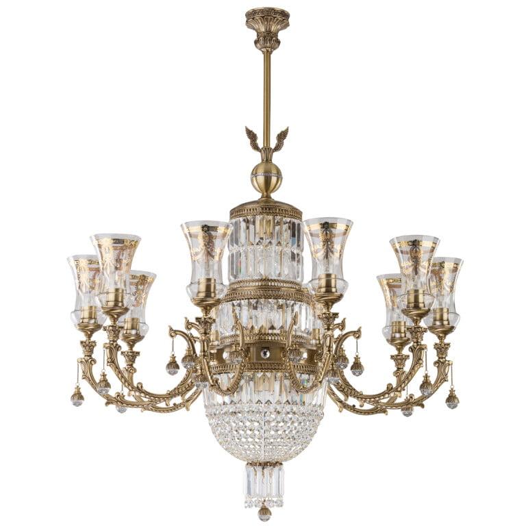 sienna royal palace swarovski crystal luxury chandelier 10 arms brass sculpture empire glass shade pendant light gold nickel patina