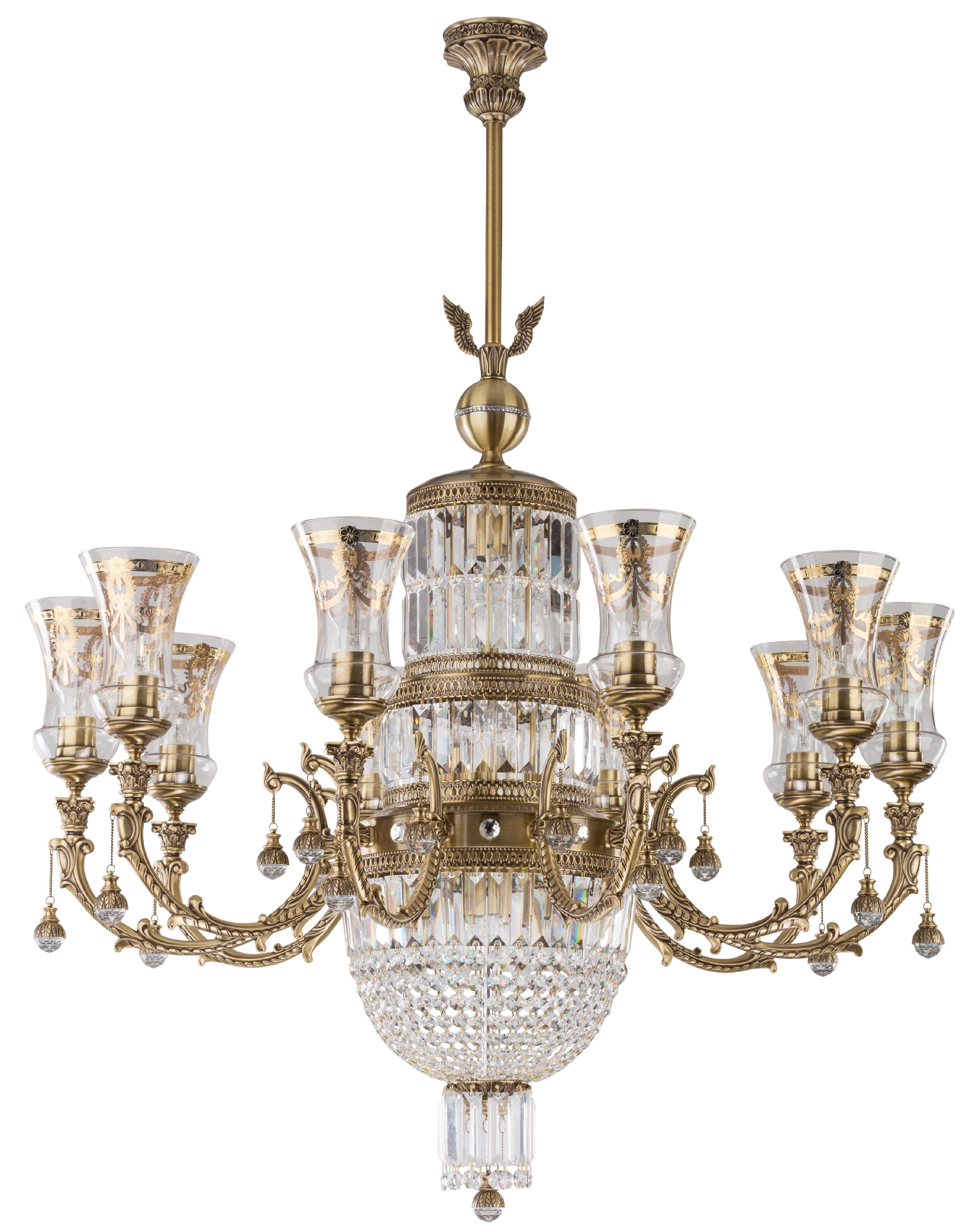 sienna royal palace swarovski crystal luxury chandelier 10 arms brass sculpture empire glass shade pendant light gold nickel patina