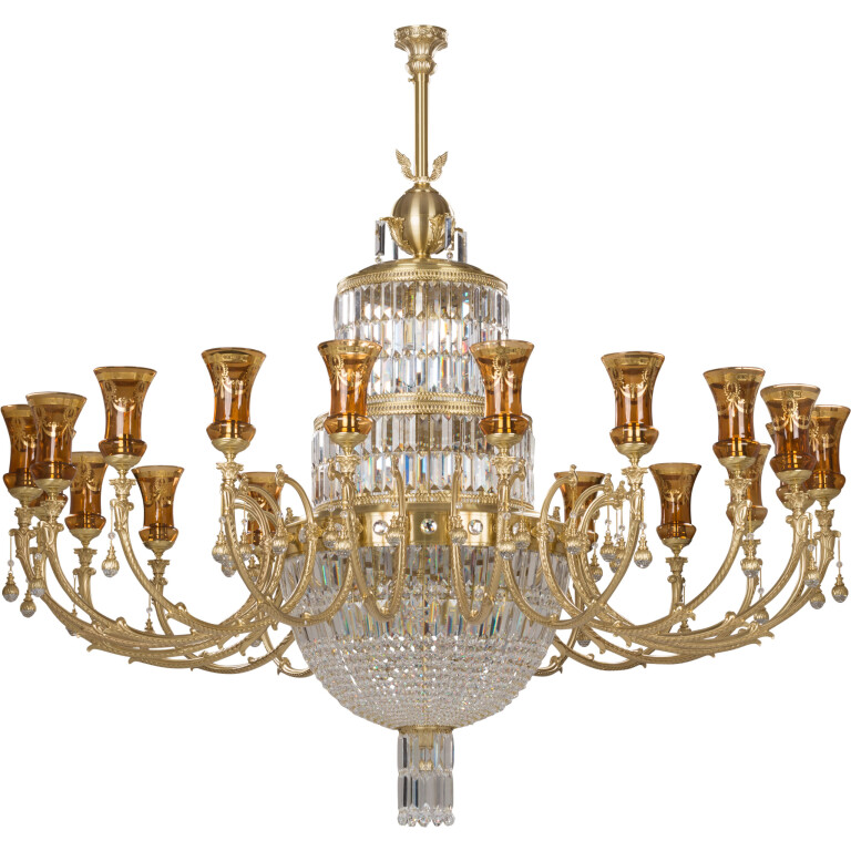 sienna high-end gold swarovski crystals chandelier 24 arms large brass sculpture glass shade royal palace
