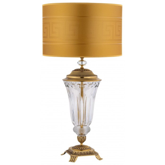 large crystal table lamps ESTI in brushed brass I Versace gold lamp shade