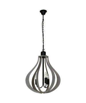 Jura Single Pendant 3 Light Oval Grey Wooden Shade