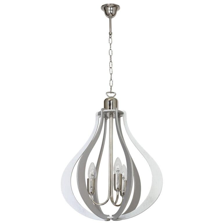 Jura 3 Light Pendant Oval Light Grey Wooden Shade Chrome