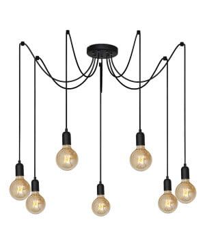 Vintage Edison Light Bulb Spider Ceiling Pendant 7 Bulbs TROCHEY