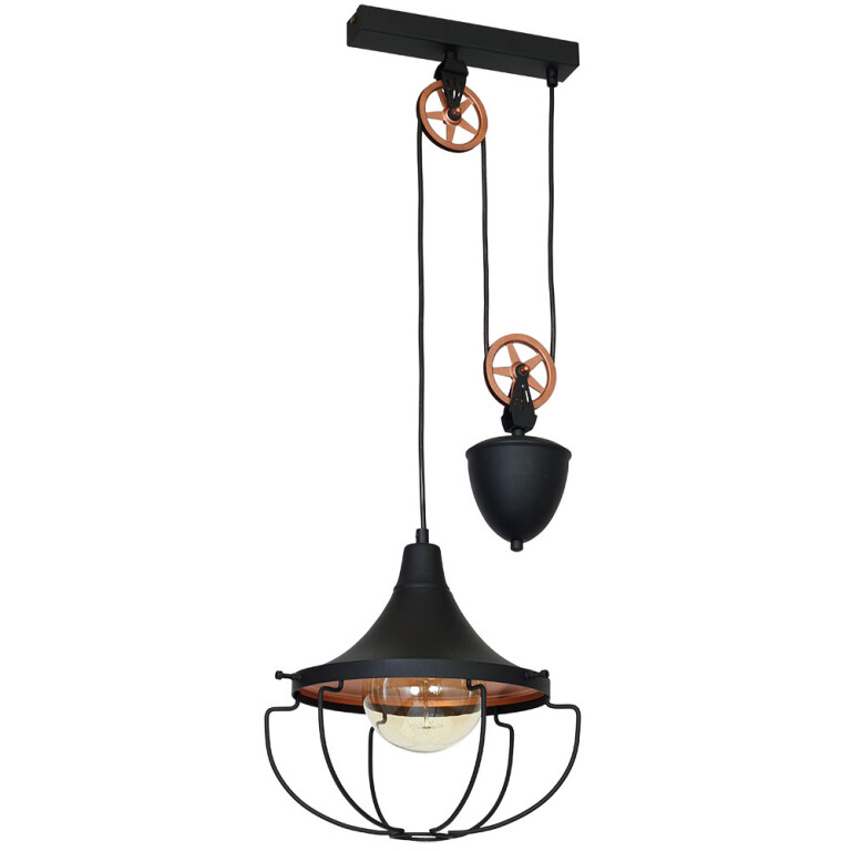 Industrial Pendant Lighting DANTON Black Loft Light Small-0