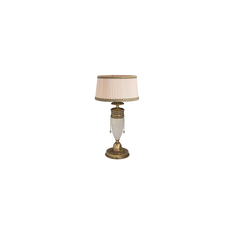 Made of: Brass, Glass Finish: Brushed brass Shade: Fabric Colour of shade: Pleated beige with gold trim Size of shade: H: 17 cm; D: 28-32 cm Type of bulbs: 1 x E27 (60W) - not included Height: 54 cm Diameter: 32 cm Additional: Made with Swarovski Crystals Made in EU Handmade and handcrafted product