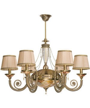 Bespoke lighting BIBIONE antique brass chandelier 6 arm with pearls