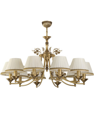 Bespoke lighting CASAMIA 10 light brass chandelier with pleated shades