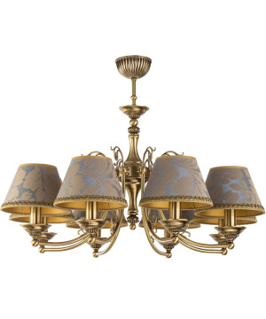 Bespoke lighting CASAMIA 8 arm brass chandelier with fabric shades