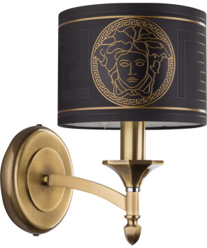 high end wall lights DECOR in brushed brass with Versace lamp shade