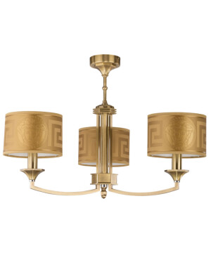 3 light brass chandelier DECOR in gold with Versace shades