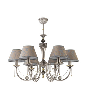 Classic chandelier DORATO 6 light in nickel with patterned silver shades