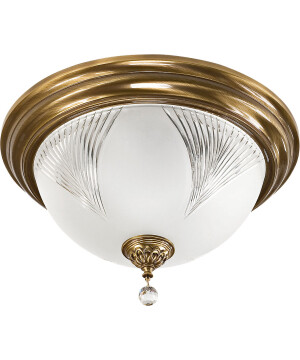 Brass Flush Ceiling Light FARINI with Swarovski Crystals glass shade