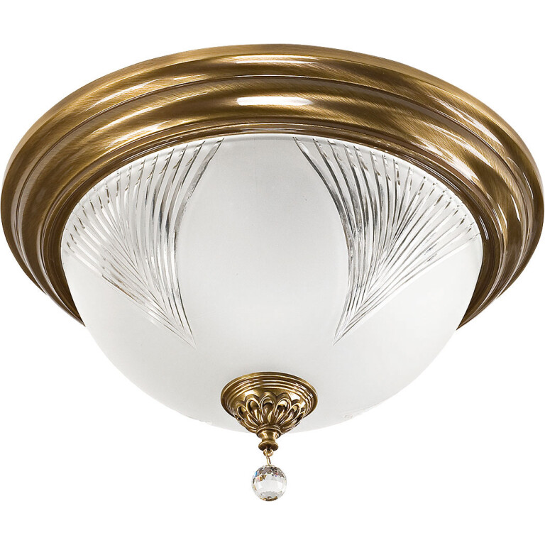 Brass Flush Ceiling Light FARINI with Swarovski Crystals glass shade