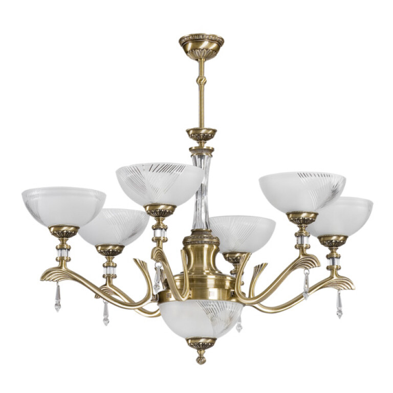 Glass chandelier FARINI 8 light in brushed brass with Swarovski crystals