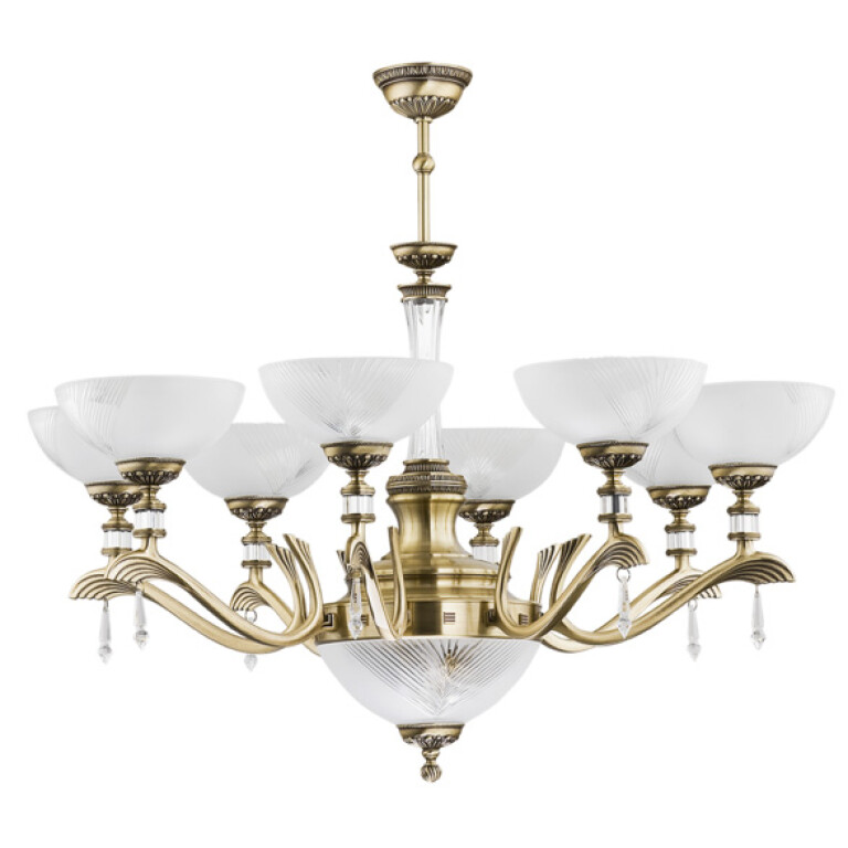 Large chandelier FARINI 10 light in brushed brass with crystals and glass shades
