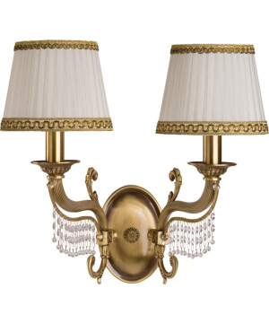 crystal wall lights FONTANA 2 light in brushed brass with white gold shades