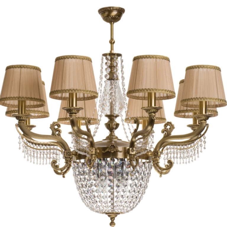 Large crystal chandelier FONTANA 12 light with beige lamp shades in brushed brass
