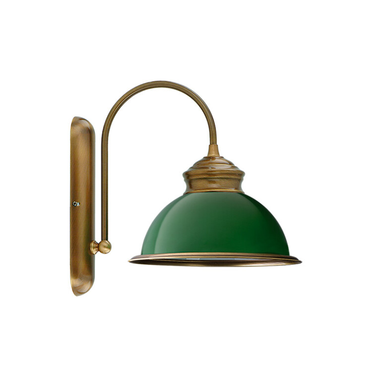 Traditional wall light LIDO with green glass shade in brushed brass