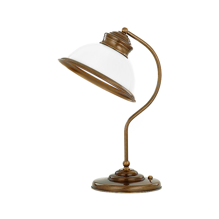 Brass desk lamp LIDO with white glass lamp shade