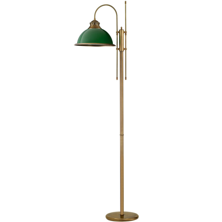 Brass floor lamp LIDO 1 light with green glass lamp shade