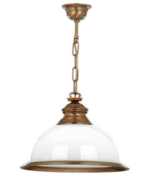 single pendant light with glass shade LIDO in brushed brass