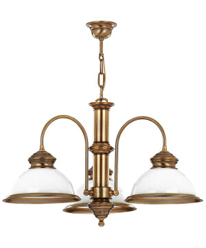 Antique brass pendant light LIDO 3 light with glass shades