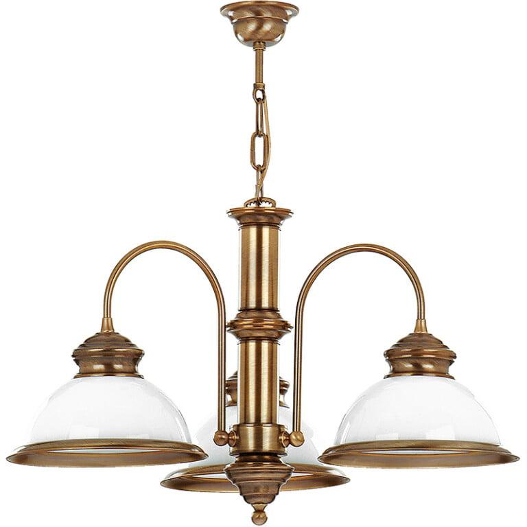 Antique brass pendant light LIDO 3 light with glass shades