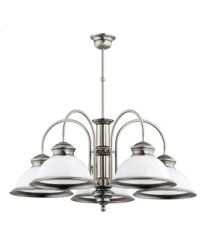 Pendant light with glass shades LIDO 5 lights in brushed nickel
