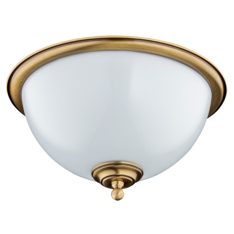 Brass flush ceiling lights LIDO with glass lamp shade
