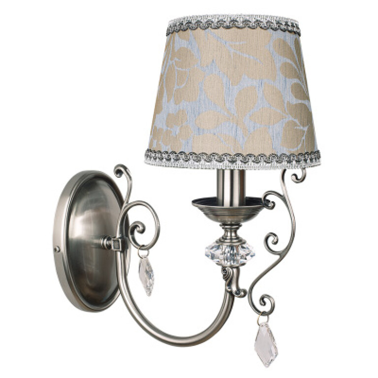 crystal wall light LUCA brass in satin nickel with pattern lamp shade
