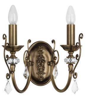 antique wall light brass LUCA 2 light with Swarovski crystals