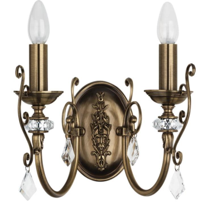 antique wall light brass LUCA 2 light with Swarovski crystals