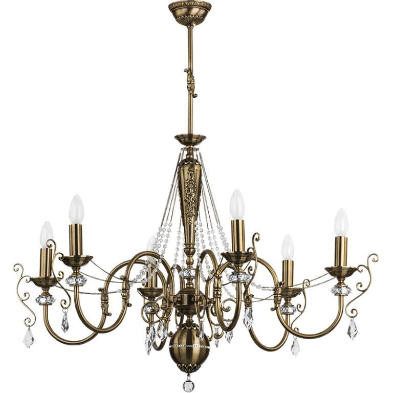 Vintage chandelier LUCA brass 6 light with Swarovski crystals