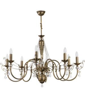 antique chandelier with crystals LUCA 8 light in brushed brass