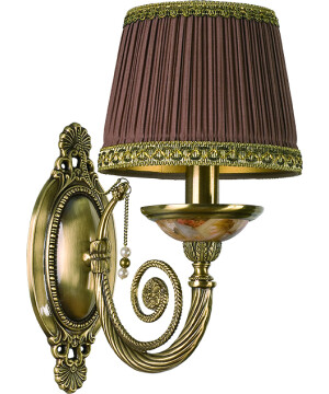 Brass Luxury Wall Light Bibione II Swarovski Crystals Wall Sconce Light Fitting Fabric Shade