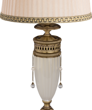 Brass Luxury Table Lamp Bibione II Swarovski Crystals Fabric Shade