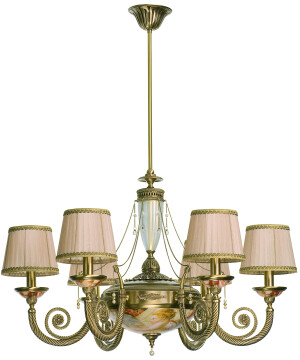 Brass Luxury Chandelier 6 Arms Bibione II Swarovski Crystals Pearls Pendant Light