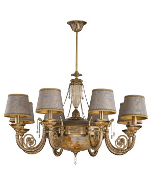 Bespoke lighting BIBIONE baroque chandelier 8 arm brushed brass