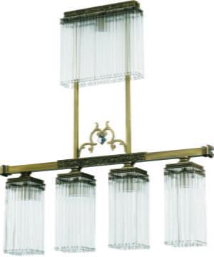 Brass Bar Ceiling Pendant 4 Lights Carino Glass Shade Pendant Light Swarovski Crystals