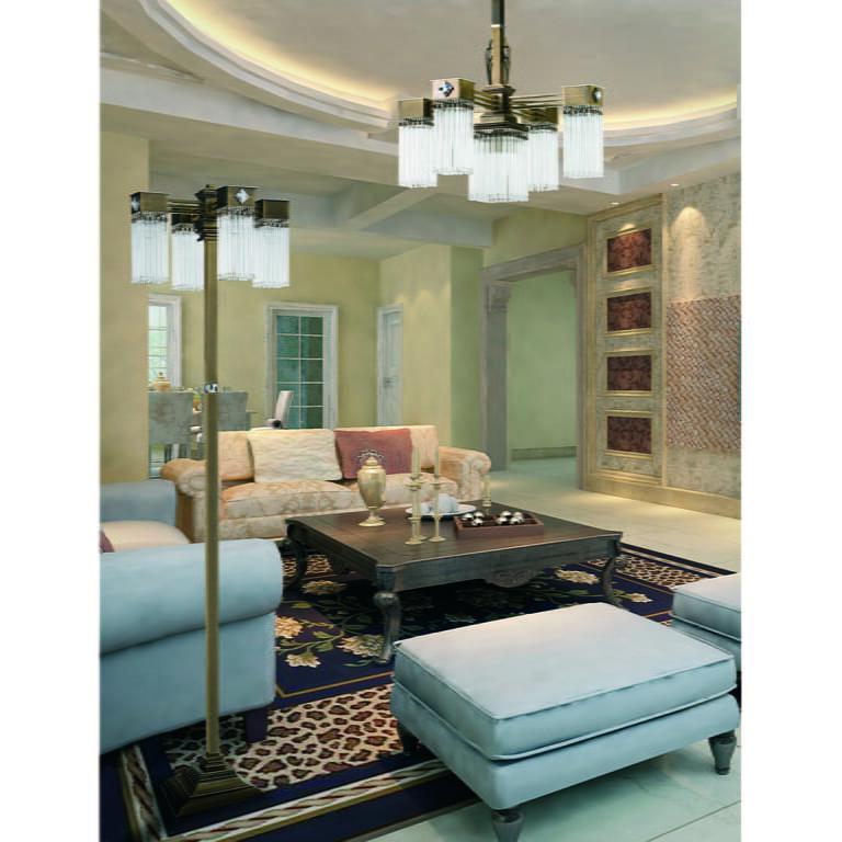 Patina Brass Luxury Floor Lamp Carino 4 Lights Glass Shade with Swarovski Crystals Inspiration