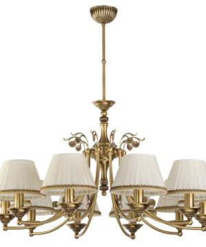 Patina Brass Luxury Chandelier 10 Arms Casamia Fabric Shade Kitchen Island Pendant Light