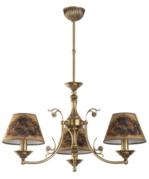 Patina Brass Luxury Chandelier 3 Arms Casamia Fabric Shade Pendant Light
