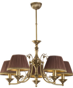 Patina Brass Luxury Chandelier 5 Arms Casamia Fabric Shade