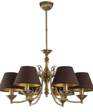 Patina Brass Luxury Chandelier 6 Arms Casamia Fabric Shade Pendant Light